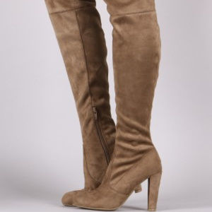 Shoes - Brown Suede Thigh High Boots Over The Knee Boots C